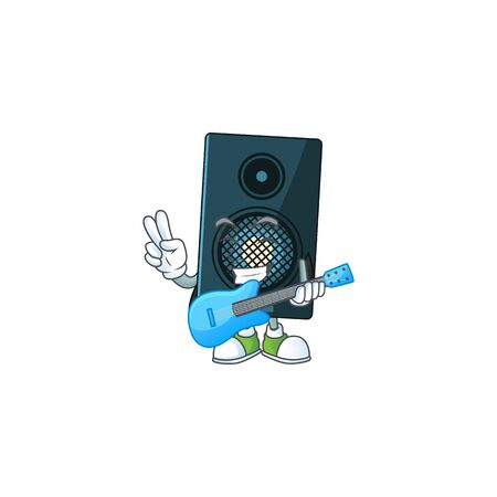 Sound system cartoon character style plays music with a guitar. Vector illustration Ilustracja