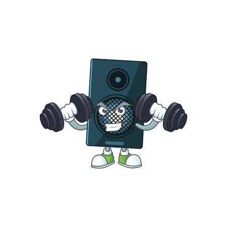 Caricature picture of sound system exercising with barbells on gym. Vector illustration