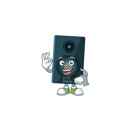 A cartoon image of sound system as a waiter character ready to serve. Vector illustration