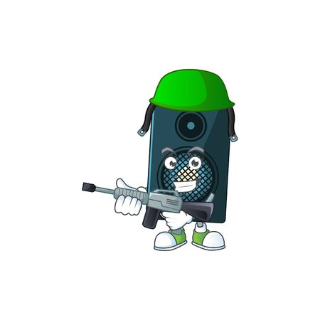A mascot design picture of sound system as a dedicated Army using automatic gun. Vector illustration