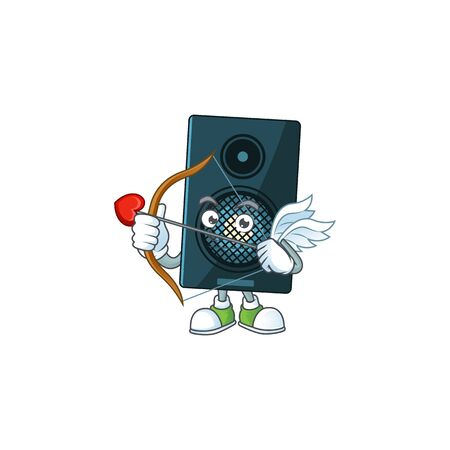 mascot design concept of sound system cute Cupid with arrow and wings. Vector illustration Ilustração