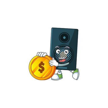 cartoon picture of sound system rich character with a big gold coin. Vector illustration Ilustração