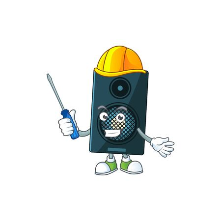 A cartoon image of sound system in a automotive mechanic character. Vector illustration