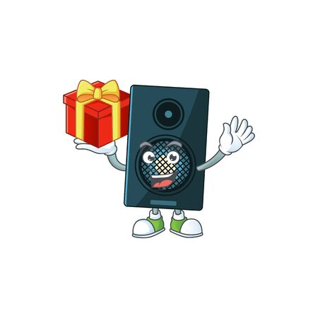 Sound system cartoon mascot concept design with a red box of gift. Vector illustration Ilustração