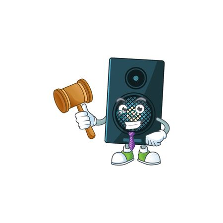 A wise Judge sound system cartoon mascot design wearing glasses. Vector illustration