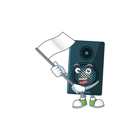 Cute caricature character of sound system with a white flag. Vector illustration