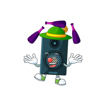 Sound system mascot cartoon design playing Juggling on circus. Vector illustration