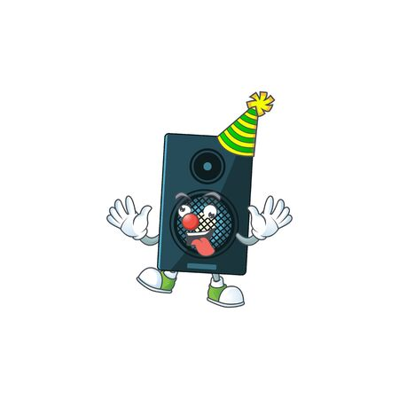 entertaining Clown sound system caricature character design style. Vector illustration