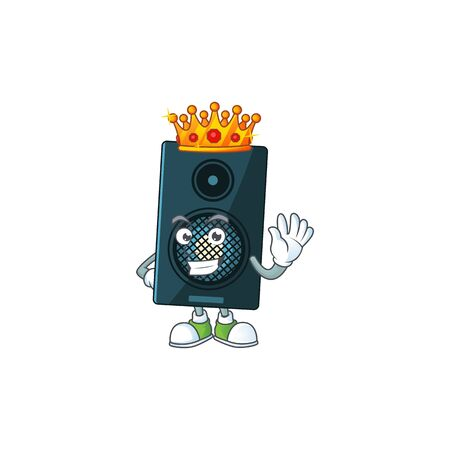 A charming King of sound system cartoon character design with gold crown. Vector illustration