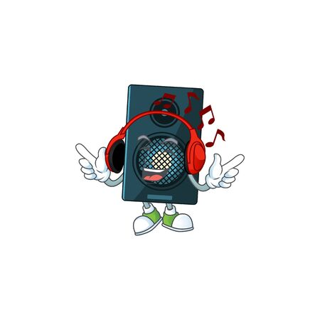 Cartoon drawing design of sound system listening to the music with headset. Vector illustration