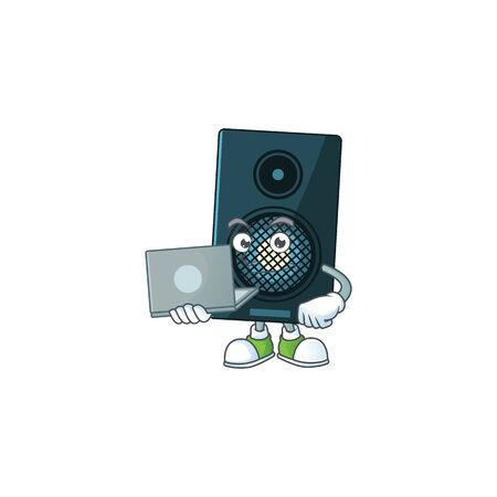 Diligent sound system cartoon drawing concept working from home with laptop. Vector illustration Ilustração
