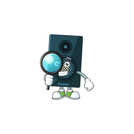 cartoon drawing concept of sound system working as a Private Detective. Vector illustration Stok Fotoğraf - 147808928