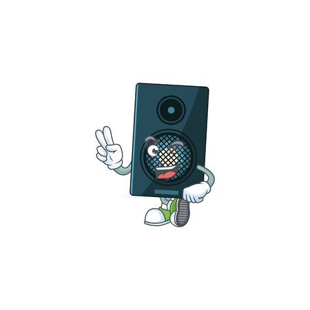 smiling sound system cartoon mascot style with two fingers. Vector illustration Ilustração