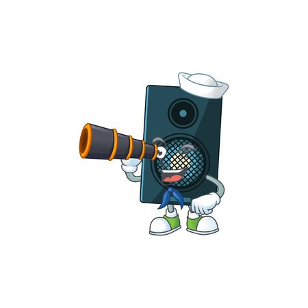 cartoon picture of sound system in Sailor character using a binocular. Vector illustration