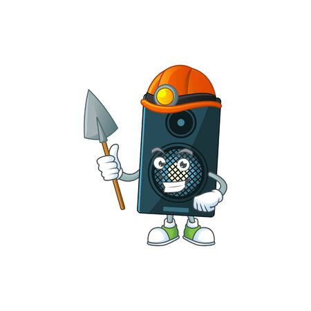 Sound system as a miner cartoon character design. Vector illustration