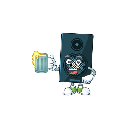 A cheerful sound system cartoon mascot style toast with a glass of beer. Vector illustration Ilustração