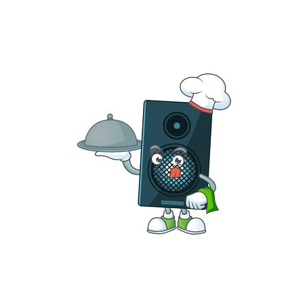 A sound system chef cartoon mascot design with hat and tray. Vector illustration Ilustração
