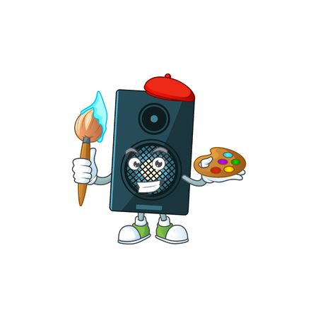 creative Artist of sound system cartoon character painting using a brush. Vector illustration