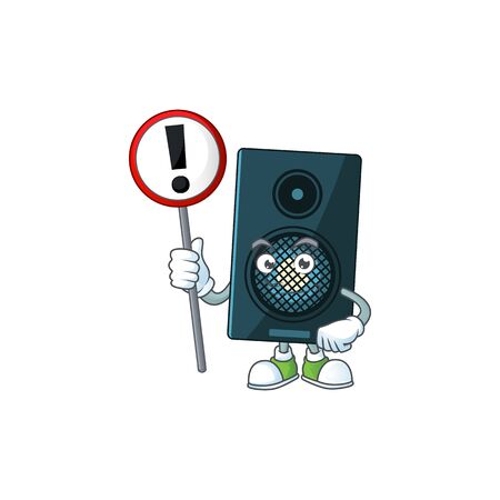 Caricature picture of sound system holding a sign. Vector illustration