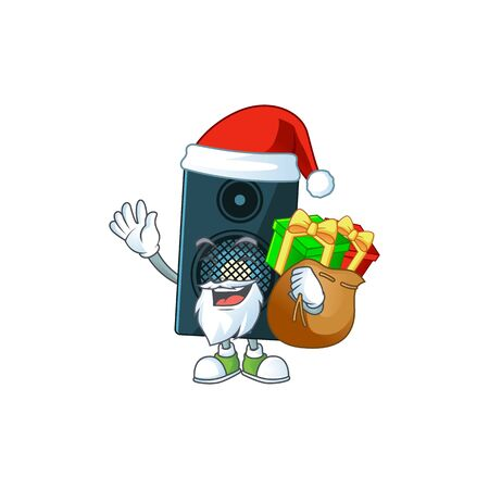 Santa sound system Cartoon drawing design with sacks of gifts. Vector illustration