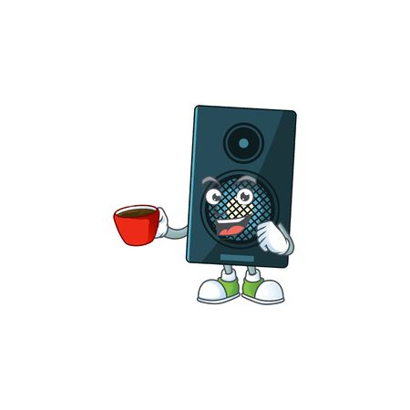 A mascot design character of sound system drinking a cup of coffee. Vector illustration