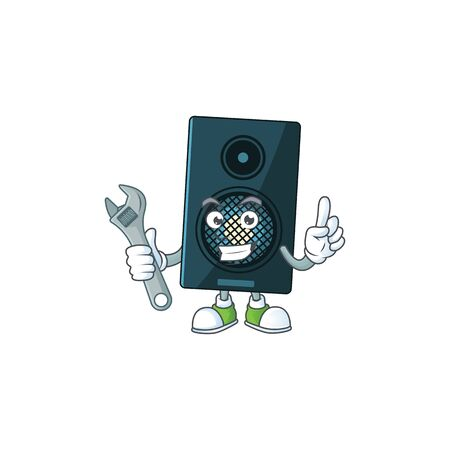 A smart mechanic sound system cartoon mascot design fix a broken machine. Vector illustration