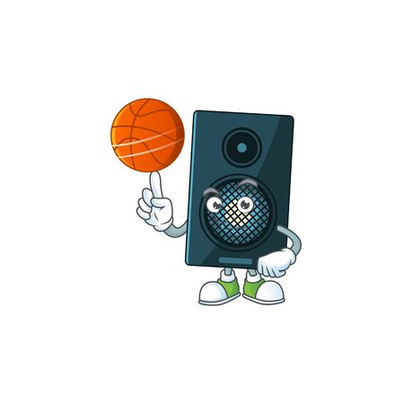 An sporty sound system mascot design style playing basketball on league. Vector illustration