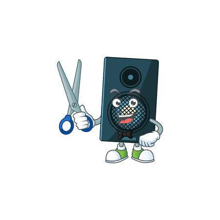 A picture of sound system Barber cartoon character working with scissor. Vector illustration