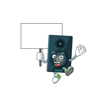 Cute sound system mascot design smiley with rise up a board. Vector illustration