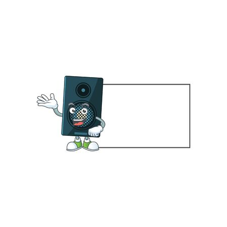 A caricature drawing of sound system with board. Vector illustration
