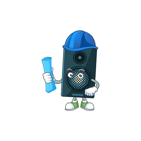 brilliant Architect sound system mascot design style with blue prints and helmet. Vector illustration