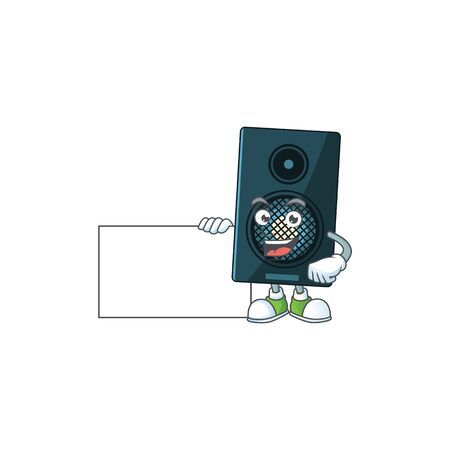 Sound system cartoon drawing Thumbs up holding a white board. Vector illustration