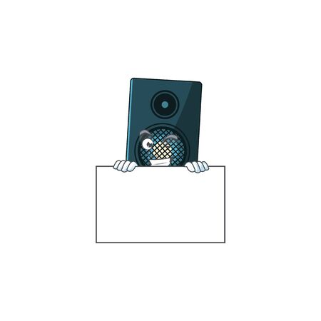 Mascot design style of sound system standing behind a board. Vector illustration