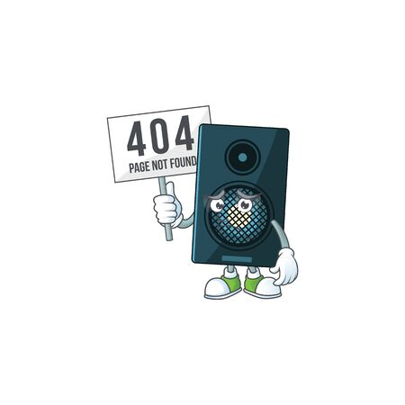 gloomy face of sound system cartoon character with 404 boards. Vector illustration
