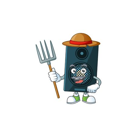Caricature picture of Farmer sound system with hat and pitchfork. Vector illustration