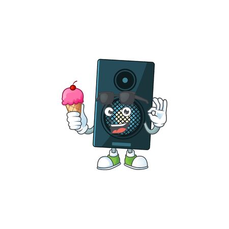 Happy face of sound system cartoon mascot having an ice cream. Vector illustration