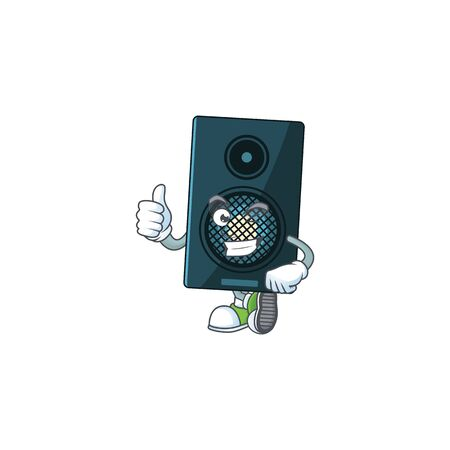 Caricature picture of sound system with Thumbs up finger. Vector illustration