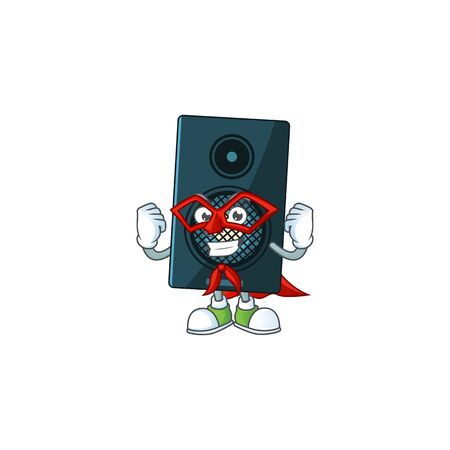 Sound system cartoon drawing concept performed as a Super hero. Vector illustration