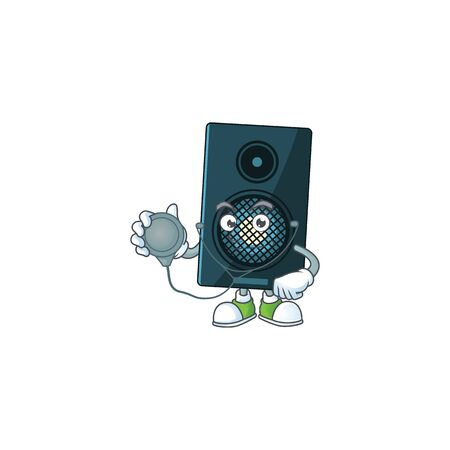 Cartoon character of sound system dedicated Doctor Work with stethoscope. Vector illustration