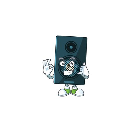 cartoon picture of sound system make a call gesture. Vector illustration
