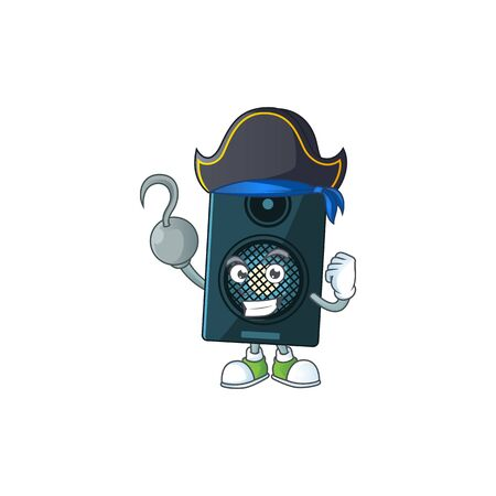 mascot design style of sound system as a pirate having one hook hand. Vector illustration Ilustração