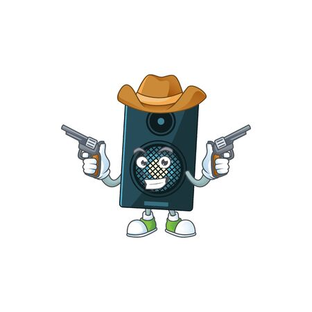 A masculine cowboy cartoon drawing of sound system holding guns. Vector illustration