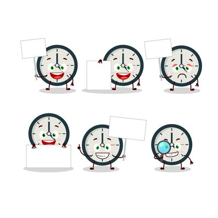 Clock cartoon in character bring information board