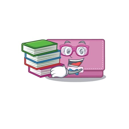 A diligent student in womens wallet mascot design concept read many books Illustration
