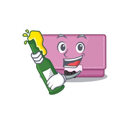 caricature design concept of womens wallet cheers with bottle of beer Vector Illustration