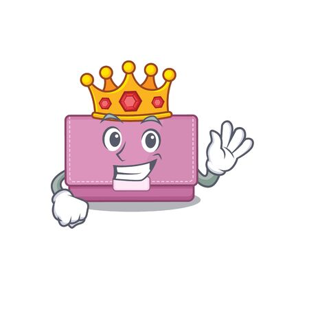 A Wise King of womens wallet mascot design style with gold crown