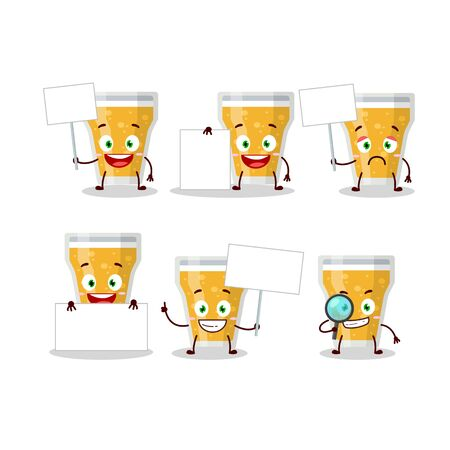 Glass of beer cartoon character bring information board