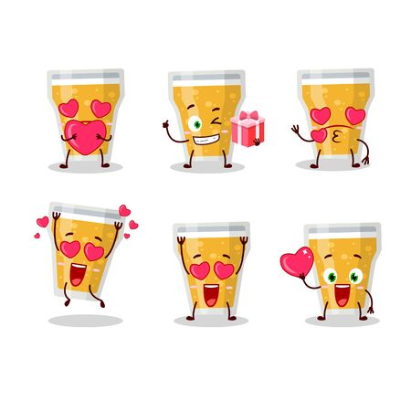 Glass of beer cartoon character with love cute emoticon  イラスト・ベクター素材