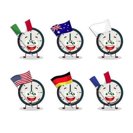 Clock cartoon character bring the flags of various countries Vettoriali