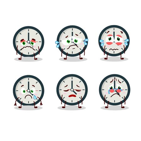 Clock cartoon in character with sad expression